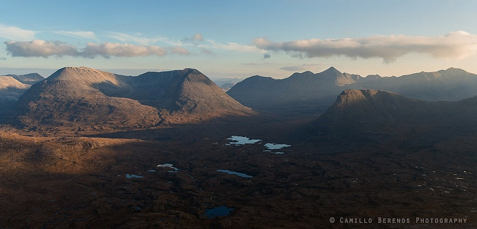 A panorama of Beinn Eighe, Liathach and Carn na Feola (Torridon) just before sunset.